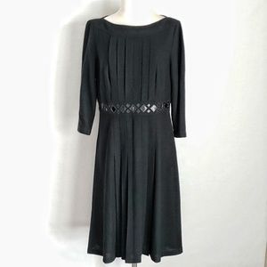 NWOT Kay Unger Patent Leather & Pleated Wool Dress
